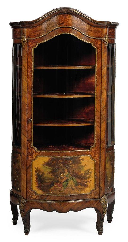A EUROPEAN KINGWOOD, VERNIS MARTIN AND GILT METAL VITRINE   OF LOUIS XV  STYLE. Antique FurnitureItalian FurnitureFine ...