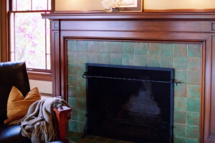 Pretty Classic Fireplace Design In Green Tile And Dark Wood From 1 Of 11 Projects By Knowles