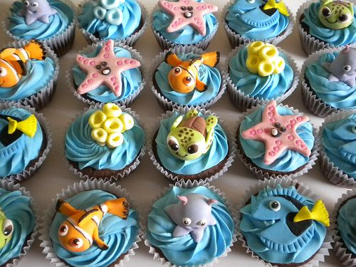 These are pretty awesome!!: Ideas, Disney Cakes Cookies Cupcakes, Birthday Parties, Awesome, Bakeries Shops, Nemo Cupcakes, Squirt Cupcakes, Finding Nemo, Fondant Cupcakes