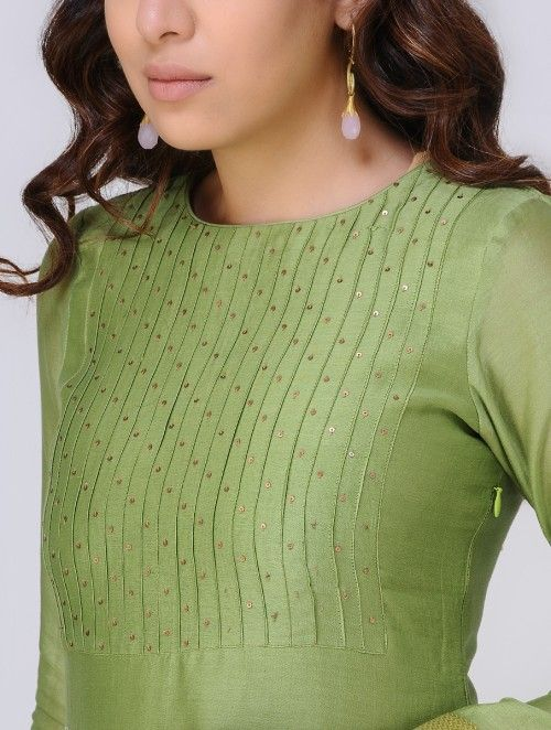 Green Chanderi Kurta with Sequin Work