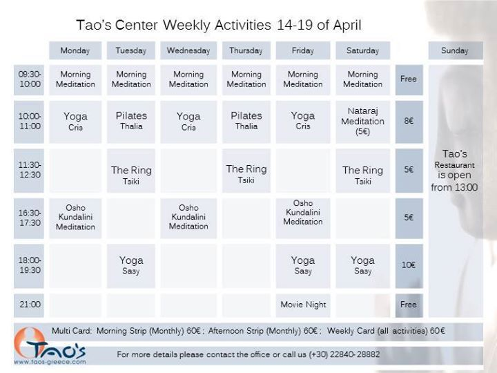 This week's sessions @taoscenter  #Paros: Daily #Yoga, #Meditation, #Pilates at one of the most beautiful spots of the island. #Greece #Greekislands