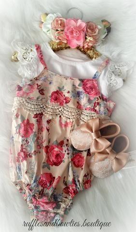 Kryssi Kouture Baby Girl Romper Vintage Floral Lace Romper - Baby Clothes - Baby Romper - Floral Lace Romper - Vintage Romper - Fall Clothes - Dusty Rose & Plum Floral Romper