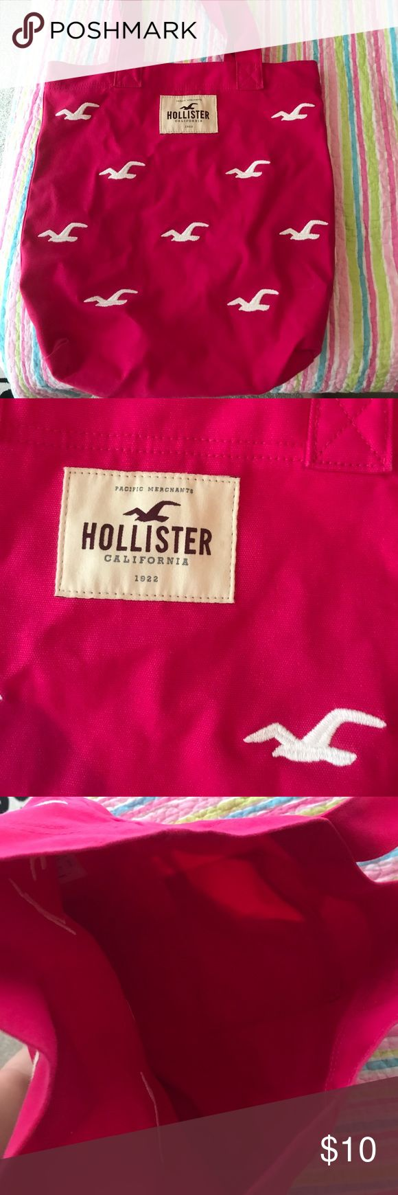 "17"" pink hollister tote As a light blue stain on the back(as pictured) but overall in good condition Hollister Bags Totes"