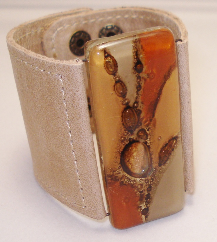 Leather Bracelet. fused glass and leather. Unique wrist cuff.. $48.00, via Etsy.