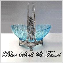 EAPG George Duncan Blue Shell & Tassel Brides Basket - $506