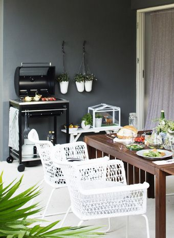 Hang fresh herbs near the barbecue for easy access whenever you're eating al fresco | #IKEAIDEAS #alfrescodining