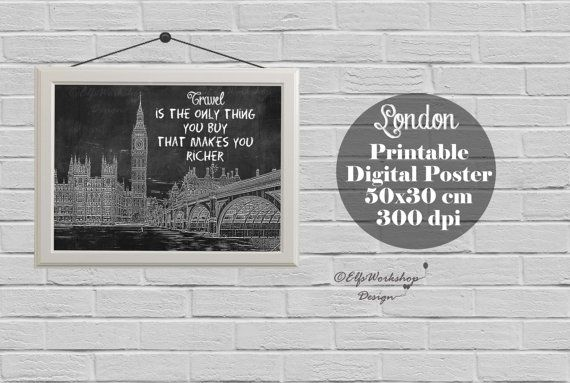 London poster, Blackboard poster London, London printable poster, Home Decor, Quote print, London Decor