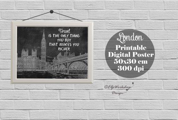 London poster, Blackboard poster London, London printable poster, Home Decor, Quote print, London Decor