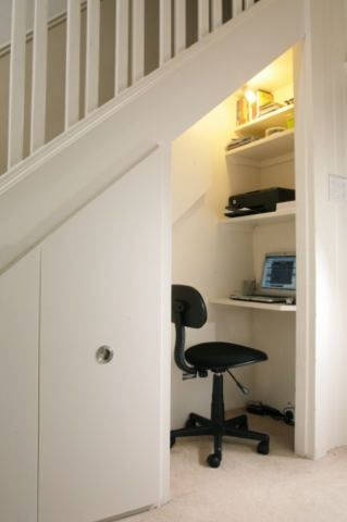 I could do something like this - sneaky office space under the stairs