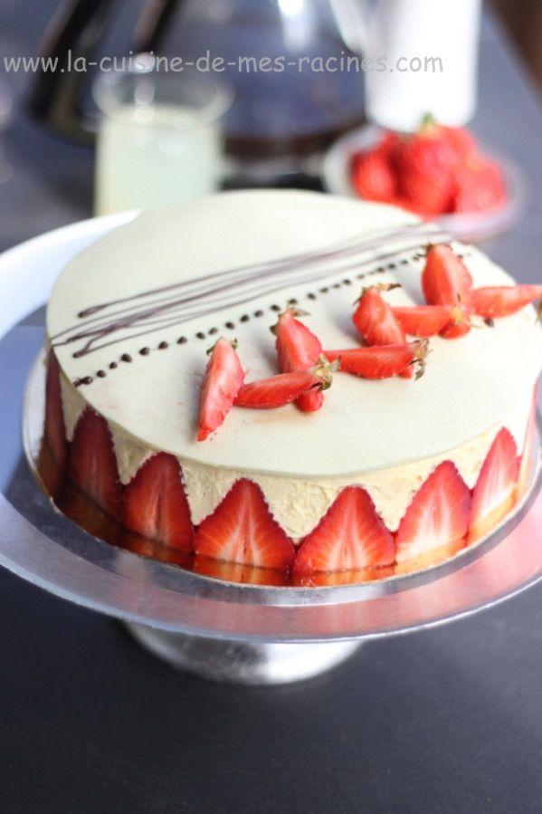 Fraisier à la crème mousseline #fraisier #pâtisseriefrançaise #lacuisinedemesracines