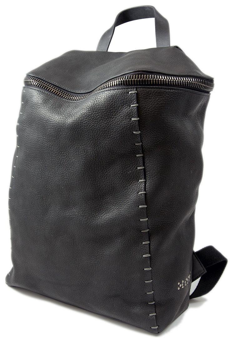 Jonas Olsson black pebbled leather backpack - unconventional store