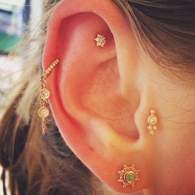 Maria Tash Diamond, opal & rose-gold earring