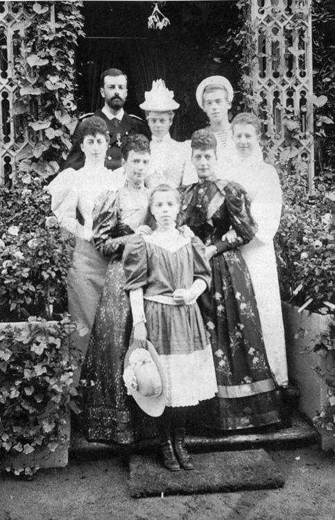 Empress Maria Feodorovna her two daughters Grand Duchess Olga Alexandrovna, Grand Duchess Xenia Alexandrovna and her husband Grand Duke Alex...