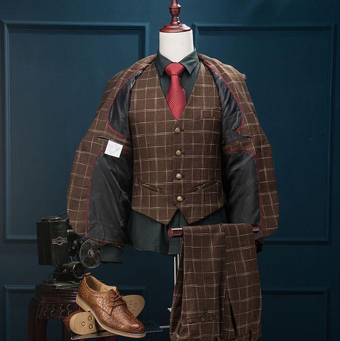 ( Куртка + брюки + жилет ) 2016 мода марка мужские костюмы пиджак цвета хаки сетка тонкий смокинг пром жених свадьба хост одежды