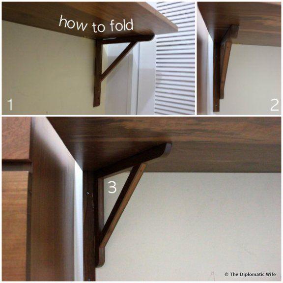 Solid Teak Wood Foldable Wall Mounted Desk Custom Made 001