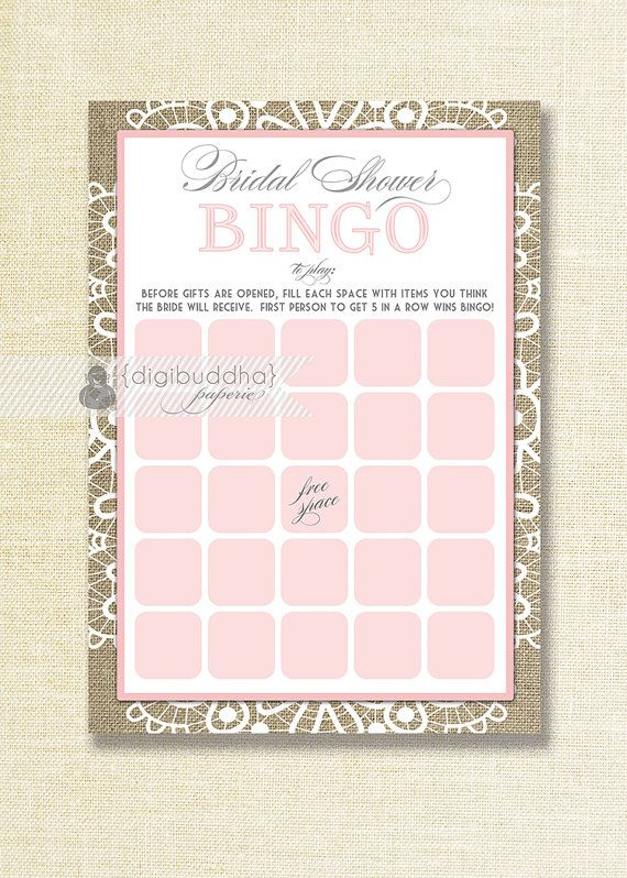 Pink Lace Bridal Shower Bingo INSTANT DOWNLOAD rustic shabby chic lace and burlap bridal shower bingo game by digibuddhaPaperie on Etsy, $8.00