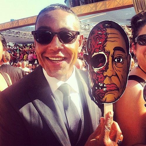 Giancarlo Esposito's girlfriend and daughter made these for him -H #BreakingBad #emmys [x]  Well they may have printed it out, but I distinctively remember making this mask. Either way, this rules!
