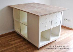 Nueva tabla personalizada cuarto de costura de corte - Decoración linda - buena idea para Reutilizar de isla de la cocina! ----------- IKEA Hackers: New customized sewing room cutting table - Cute Decor - good idea for repurpose of kitchen island!