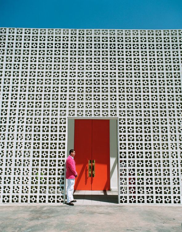 Parker Palm Springs Love the pattern and the bam of color on the door - Pows in your face!