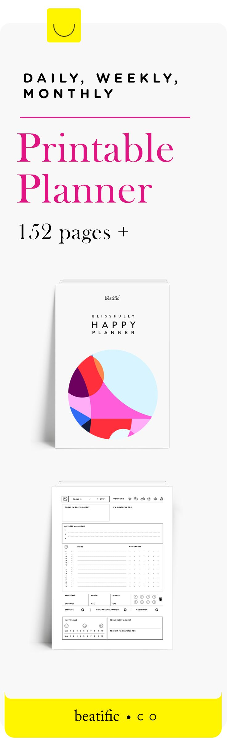 Daily, Weekly and Monthly Happy Printable Planner to get your life back on track. #plannerprintables #plannerinserts #plannerprintable #printableplanner #plannerrefill #personalinserts