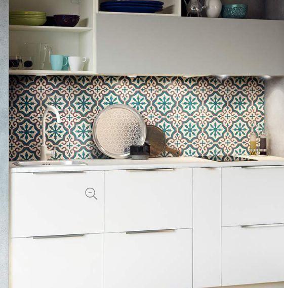 Cr dence carreaux de ciment bleu gris kitchen wall d co cr dence pinterest credence - Carreaux de ciment bleu ...