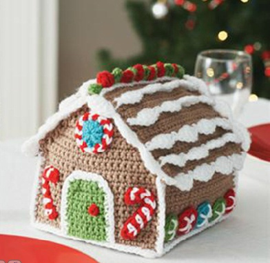 Crocheted gingerbread house pattern from Michael's.  I found a pattern for you!!! ...Kerry ... ho ho ho !!!