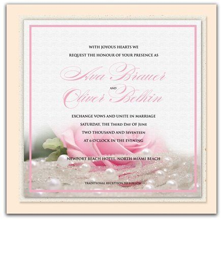 175 Square Wedding Invitations - Pink Rose n' Pearls by WeddingPaperMasters.com. $458.50. Now you can have it all! We have created, at incredible prices & outstanding quality, more than 300 gorgeous collections consisting of over 6000 beautiful pieces that are perfectly coordinated together to capture your vision without compromise. No more mixing and matching or having to compromise your look. We can provide you with one piece or an entire collection in a one stop shopping exp...