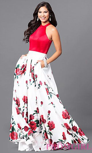 Long Sleeveless Prom Dress with Red Print Skirt at PromGirl.com USE THIS CODE TO RECEIVE A SPECIAL GIFT AT CHECKOUT: PG430B92REP