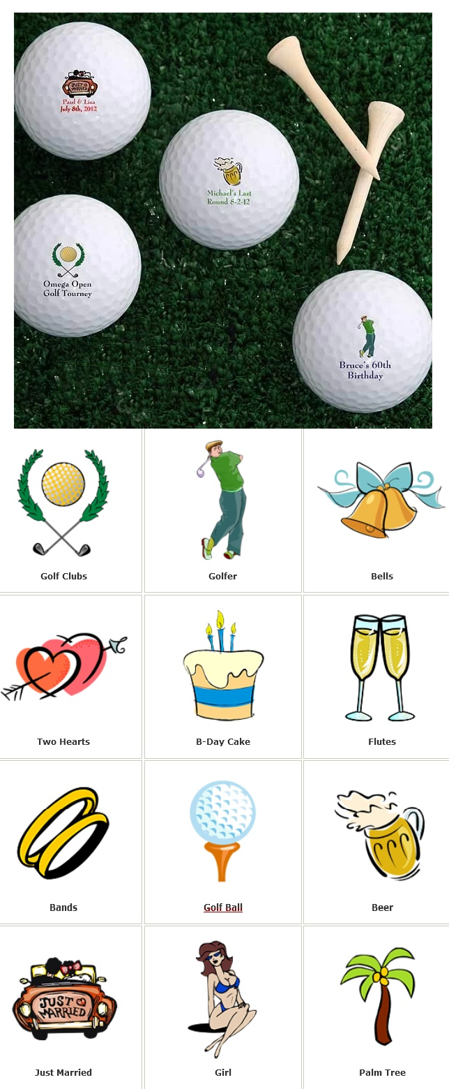 The You Design It© Personalized Golf Balls can be customized with ANY message in red, blue, black or green and with 1 of 12 cute designs! Perfect for milestone birthdays, bachelor parties, wedding favors, corporate events, retirement and more! Only $32.95 for a dozen