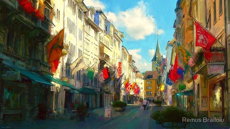 """Zurich"" Photographic Prints by Remus Brailoiu | http://www.redbubble.com/people/remuscb/works/10152222-zurich?asc=u&p=photographic-print&rel=carousel | Impressionist digital painting depicting Rennweg Street in the city of Zurich, Switzerland. | #zurich #switzerland #europe #city #cityscape #buildings #architecture #rennweg #impressionism #digitalpainting #landscape"