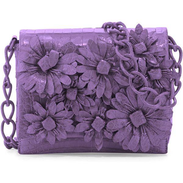 Nancy Gonzalez Crocodile Flower Chain Bag ($3,150) found on Polyvore featuring bags, handbags, purses, lilac matte, chain shoulder bag, purple handbags, croc handbags, chain purse and chain handle handbags