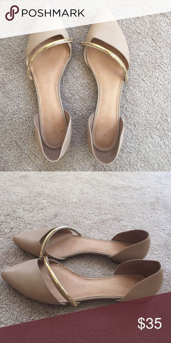 Aldo Flats Cute Aldo flats with gold strap on top. These have barely been worn as they do not fit me! Aldo Shoes Flats & Loafers