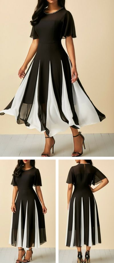 4b30e3c2973 Short Sleeve Round Neck Patchwork Dress