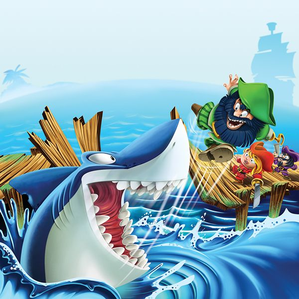 Shark Run is the new game by Spin Masters. They asked me to make the illustration for the cover of the package. Great fun!