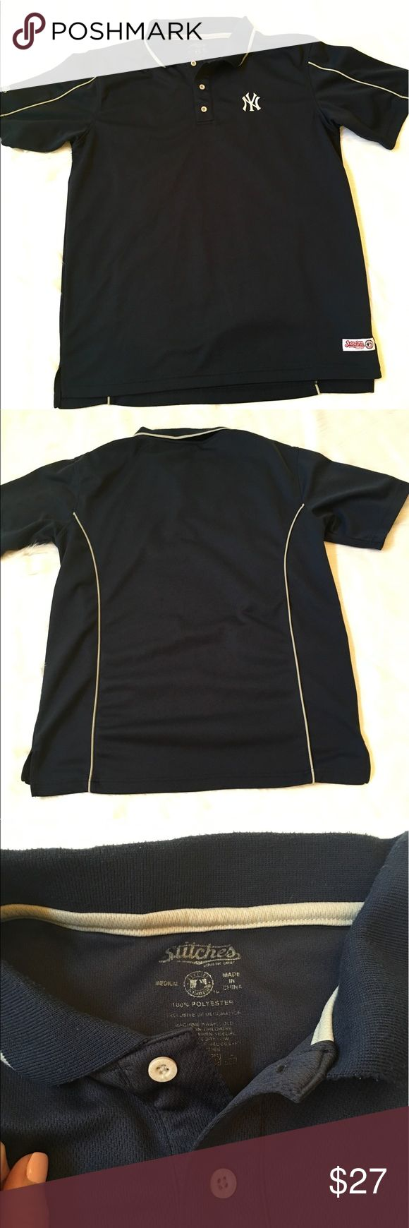 Men's Yankee Polo ❣SALE❣This is a Men's New York Yankee Polo in GUC. No stains or rips but has light pilling on the collar only. It's a dark navy blue with a light tan contrast piping on sleeves, back and collar. Material is 100% polyester. ❗PRICE FIRM❗ Stitches Shirts Polos