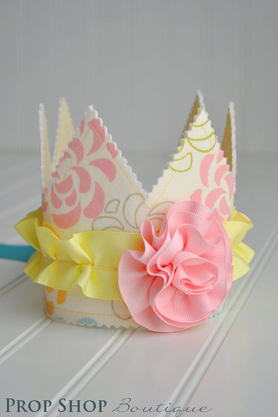 Girls Floral Rosette Fabric Crown