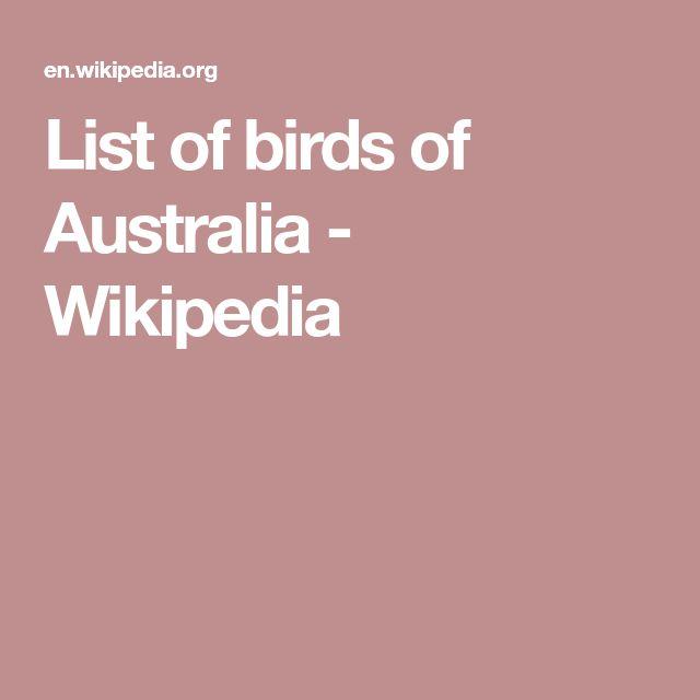List of birds of Australia - Wikipedia