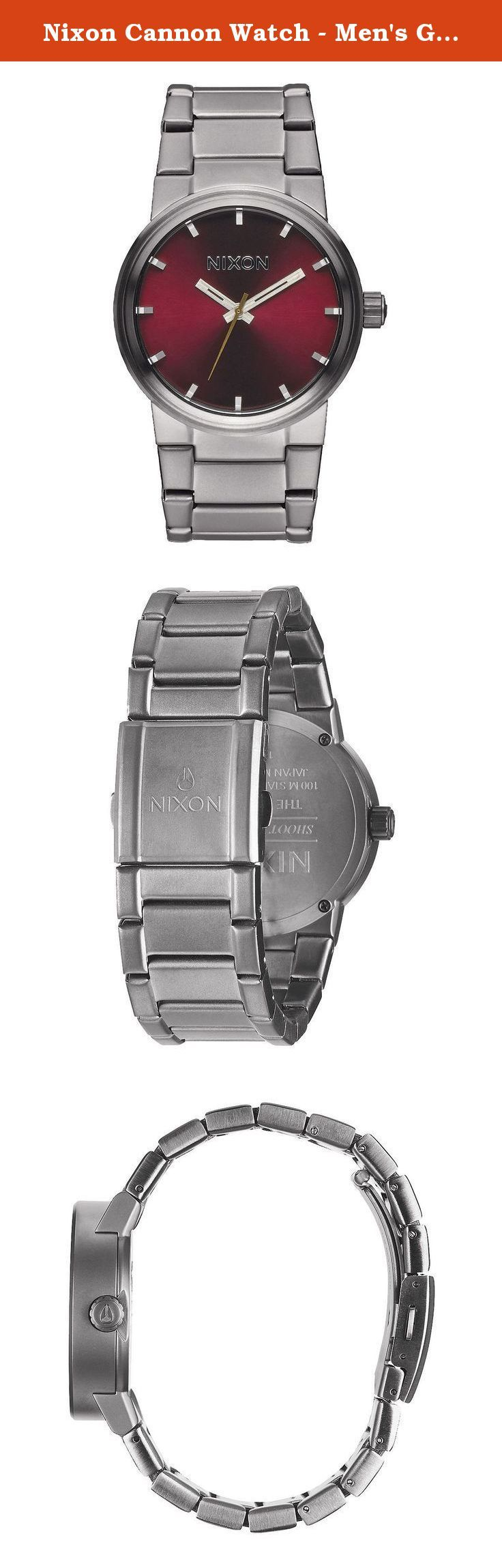 Nixon Cannon Watch - Men's Gunmetal/Deep Burgundy, One Size. Blow past your competition with the stainless steel Nixon Men's Cannon Watch. Waterproof to 100 meters, this Nixon timepiece keeps ticking if you have to run though a creek to stay ahead of the game. The simple, minimal watch face tells time without all that number-clutter so you can take a quick glance and still get your info. The Cannon Watch's stainless steel case and band hold up to the wear and tear it takes to win…