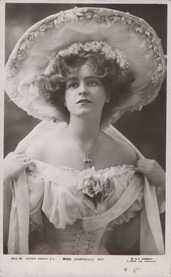 Gabrielle Ray, 1905.    Gabrielle Ray (28 April 1883 - 21 May 1973), was an English stage actress, dancer and singer, best known for her roles in Edwardian musical comedies.    Ray was considered one of the most beautiful actresses on the London stage and became one of the most photographed women in the world.   After an unsuccessful marriage, however, she never recovered the fame that she had enjoyed. She spent many of her later years in mental hospitals.