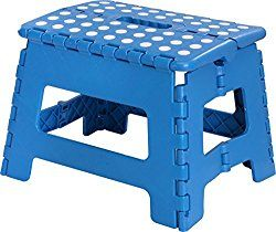 Foldable Stool for Kids and Adults – Blue – Lightweight Plastic Step Stool – 11-inch Wide and about 8-inch Tall – By Utopia Home
