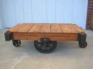 Antique Factory Cart, love it for the coffee table.