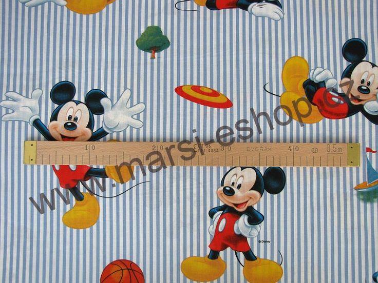 Bavlněná látka - Myšák Mickey s pruhy