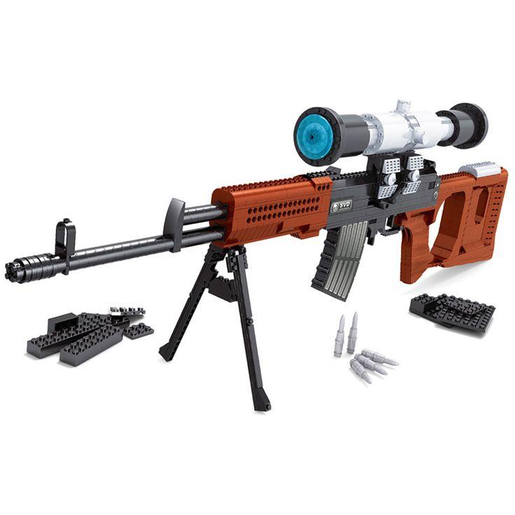 712 PCS DIY Nerfs Elite Gun SVD Sniper Rifle Gun Toy Gun Model Building Block Set Plastic Toy Gift For Children #Affiliate