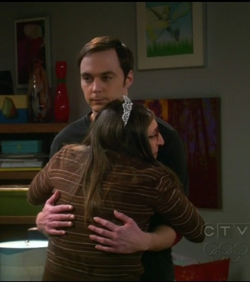 "Amy getting a tiara from Sheldon. ""It's a tiara!  Put it on me, put it on me, put it on me""!"