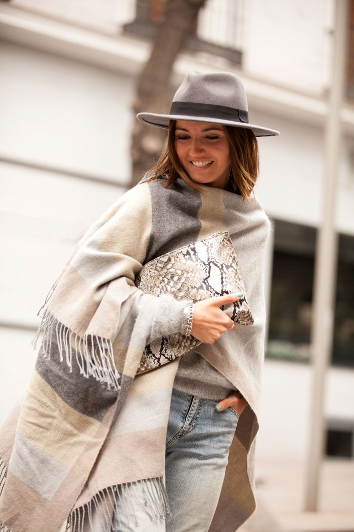 Stylish hat outfit - large poncho and matching hat