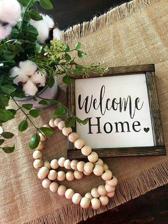 Welcome Home Wood Sign farmhouse decor farmhouse style gift housewarming fixer upper