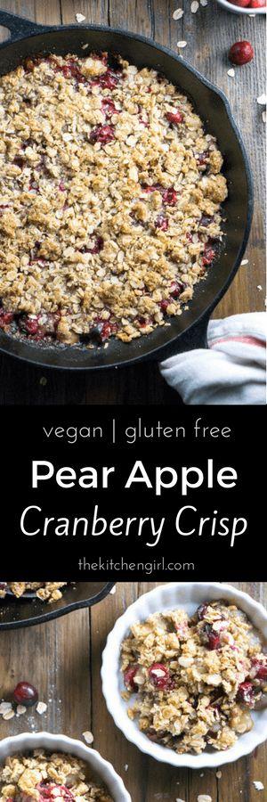 Secretly healthy, scrumptious vegan holiday dessert! Maple Pear Apple Cranberry Crisp at thekitchengirl.com #applecrisp #cranberries #holidaydessert #vegandesserts #fruitcrisp #glutenfreedessert