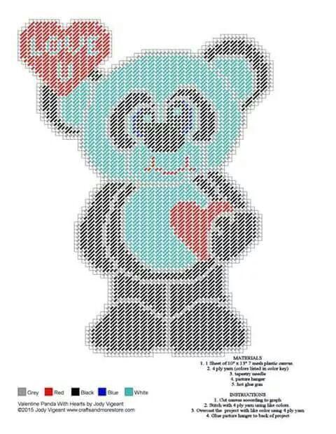 Valentine Panda With Hearts