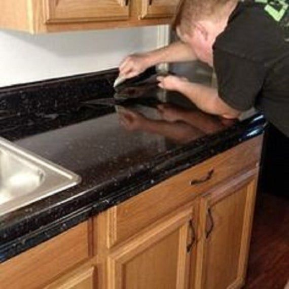 Instant Peel And Stick Black Granite Marble Countertop Vinyl Image