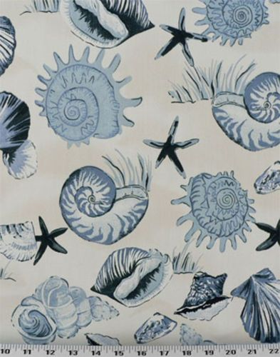 Details about Drapery Upholstery Fabric Indoor/Outdoor Tropical Sea Shells – Blue / Ivory